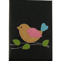 LAVISHY boutique Vegan/faux leather passport cover with lucky bird applique