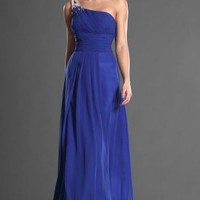 New Grogeous Blue One Shoulder Long Evening Dress - Basadress.com