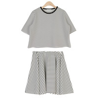 Striped Casual Top and Skirt Set