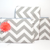 Zipper Clutch Bag -  Clutch Purse - Chevron - Gray Coral - Shabby Coral Flower - Wedding Clutch - Cosmetic Bag -