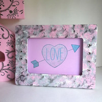 Grey and pink 4 x 6 picture frame for trendy girls room