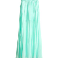 H&M - Pleated Maxi Skirt - Light turquoise - Ladies
