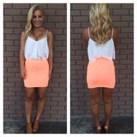 Neon Orange Bandage Skirt