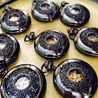 Groomsmen Pocket watch Gunmetal Black Engravable Set of Eight