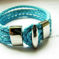 light blue Leather Woven with Metal Buckle Women by braceletcool