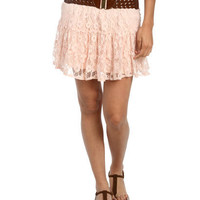 Lace Crochet Belted Mini Skirt | Wet Seal