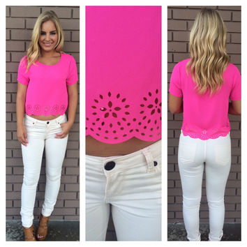 Galaxy Scallop Crop Top - Fuchsia