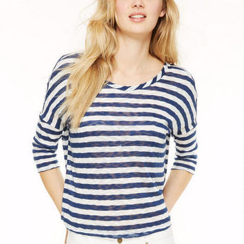 Stripe Button Back - Navy
