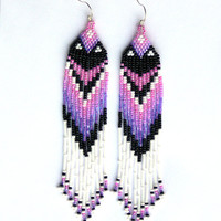 Native American Beaded Earrings Inspired. Pink Purple Black White Earrings. Dangle Long Earrings. Beadwork.