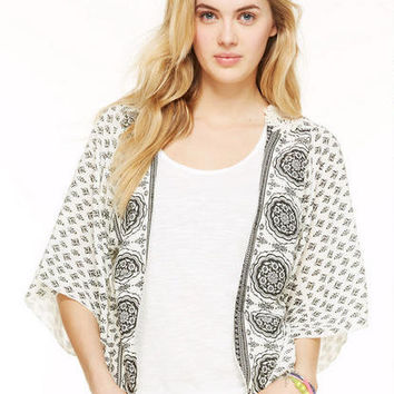 Crochet-Back Printed Kimono in White-multi - White Multi