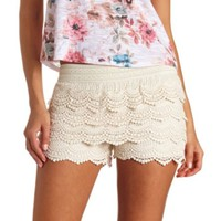 Scalloped Lace High-Waisted Shorts