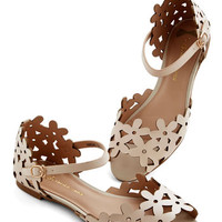Prancing Through the Petals Sandal in Beige | Mod Retro Vintage Sandals | ModCloth.com