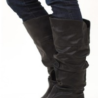 Black Vegan Leatherette Boots