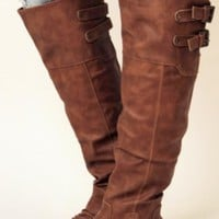 Brown Vegan Leatherette Knee High Boots w/ Buckles