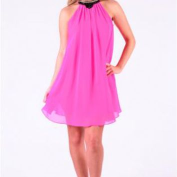 Pink Sleeveless Loose Shift Dress w/ Embellished Collar