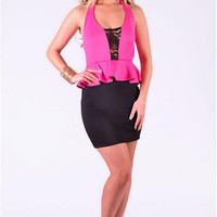 Pink & Black Halter Peplum Dress Deep V-Neck