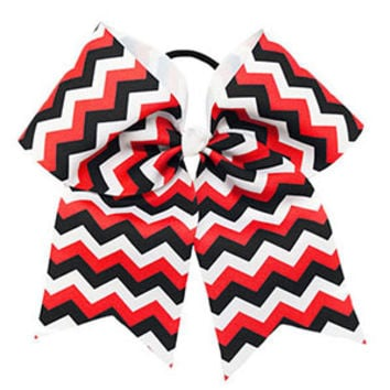Extra Large Red, White & Black Chevron Hair Bow