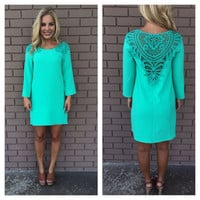 Teal Crochet Libby Shift Dress