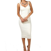 Callie- White Textured Midi Prom Dress