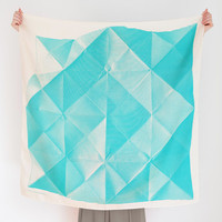Folded Paper furoshiki (emerald green) Japanese eco wrapping textile/scarf, handmade in Japan