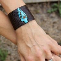 Upcycled Leather Magnesite Arrowhead Cuff by SpiritTribe on Etsy