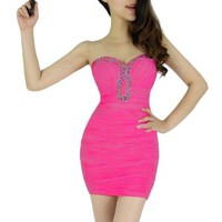 Women's Sexy Rhinestone Strapless Close-fitting Ruffle Clubwear Cocktail Mini Dress