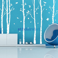 vinyl white birch tree decal wall tree birds decal nursery birch for living room wall decor