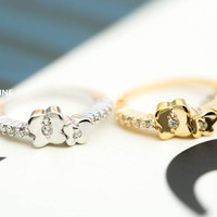 mini mother and baby butterfly knuckle ring,RN2462