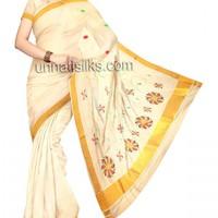 UNM7575-Lovely traditional milk cream handloom kerala kasavu tissue saree
