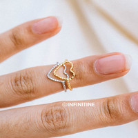 crease heart midi knuckle ring,RN2499