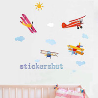 Airplane Wall Decal for boys stickers Plane Wall Decal removable Cloud decor for Nursery Children Baby