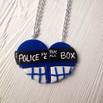 BFF Tardis Friendship Necklace