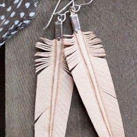 $29.00 leather feather earrings hand carved natural tan by heidiroland