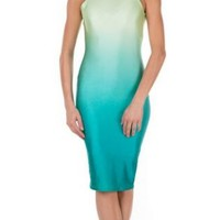 Green and Teal Ombre Turtleneck Dress