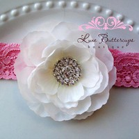 SALE  Princess Couture Flower Headband  White on by LuxeButtercups