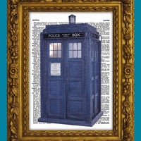 Doctor Who TARDIS Blue Police Box Dictionary Art Print by DictionaryArtPrintz on Etsy