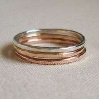 Set of Three Rose Gold Silver Rustic Gold Hammered by MARYJOHN