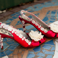 Custom red wedding shoes Swarovski Crystals by TheCrystalSlipper
