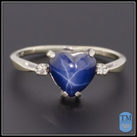 Vintage 14k White Gold & Heart Shaped Star Sapphire & Diamond Ring - Size 7.5