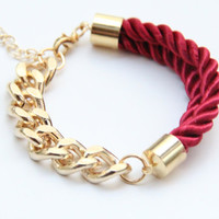 SPRING SALE - 20% OFF! Half and Half: Gold chunky chain and Deep Red Bracelet - 24k gold plated
