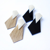 SPRING SALE - 50% OFF! Tie Earrings - Laser cut Wood and acrylic Earrings 24k gold plated