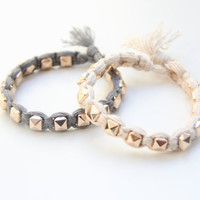 SPRING SALE - 20% OFF! Arm candy - Gold pyramid beads and White cord - woven bracelet