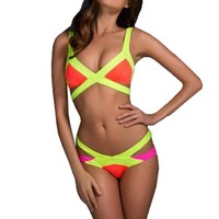 Meilun Women's 2 pcs Bandage Summer Splice Swimsuit Bikini Large Yellow