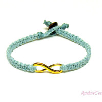 Infinity Bracelet, Light Blue Macrame Hemp Jewelry with Gold Tone Infinity Charm, Couples or Best Friends