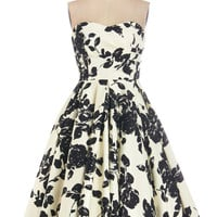 ModCloth Mid-length Strapless Fit & Flare Mesmerize and Shine Dress
