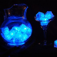 Set of 12 Litecubes BLUE Light up LED Ice Cubes