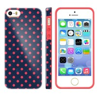 Akna Glamour Series Flexible TPU Soft Back Case for iPhone 5 5S [Vintage Polka Dots]