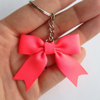 Unique Neon Pink Mini-Bow with Tails Keychain