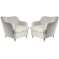 Caira Mandaglio - Gio Ponti - Pair of  upholstered armchairs  designed by Gio Ponti - 1stdibs