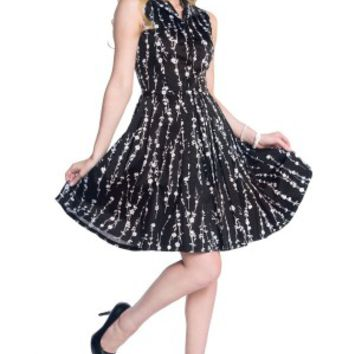 Women's Floral Vixen Flare Dress - Black